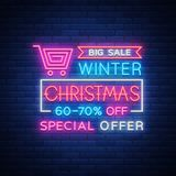 Christmas sales, neon sign, advertising bright festive discounts. New Year card sale, light banner. Xmas Winter. Discounts, Flyer Flyer for your projects Royalty Free Stock Photo