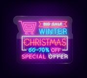 Christmas sales, neon sign, advertising bright festive discounts. New Year card sale, light banner. Xmas Winter. Discounts, Flyer for your projects. Vector Royalty Free Stock Photo