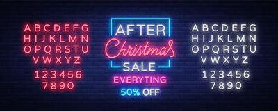 Christmas sales, neon sign, advertising bright festive discounts. New Year card sale, light banner. Xmas Winter. Discounts, Flyer Flyer for your projects Royalty Free Stock Photography