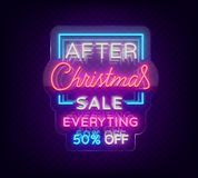 Christmas sales, neon sign, advertising bright festive discounts. New Year card sale, light banner. Xmas Winter. Discounts, Flyer for your projects. Vector Stock Photos