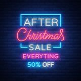 Christmas sales, neon sign, advertising bright festive discounts. New Year card sale, light banner. Xmas Winter. Discounts, Flyer Flyer for your projects Stock Image