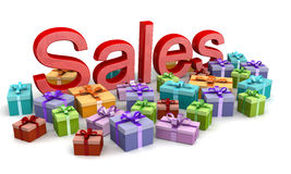 Christmas sales shopping concept. Sales word surrounded by colorful gift boxes 3d illustration Stock Photography