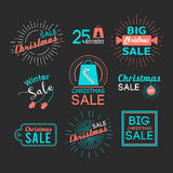 Christmas sales stickers set with flat icons. Royalty Free Stock Photo