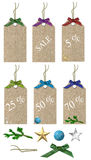 Christmas sales tags Stock Images