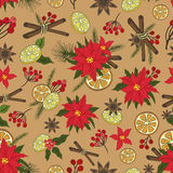Christmas samless pattern set.New year doodles Royalty Free Stock Images