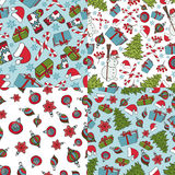 Christmas samless patterns.Winter doodles symbols Royalty Free Stock Photos