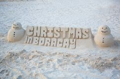 Christmas sand castle on Boracay Stock Image