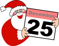 Christmas Santa. Cute illustration of santa claus holding up a calendar displaying the date December 25th Stock Photo