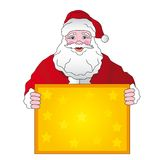 Christmas santa. Is holding in hands banner stock illustration