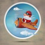 Christmas Santa on airplane. Hand drawn illustration Royalty Free Stock Images