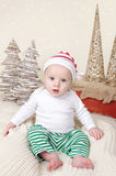 Christmas Santa Baby in Elf Hat stock photography