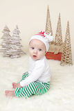 Christmas Santa Baby in Elf Hat Royalty Free Stock Photo