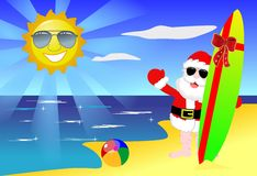 Christmas Santa Claus Tropical Beach Surfboard Royalty Free Stock Image