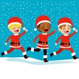 Christmas Santa Children Running Stock Photo