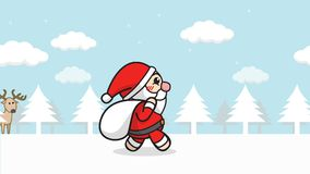 Christmas Santa Claus animation seamless loop. cartoon Santa Claus with gift bag walking in snow forest with winter landscape stock footage