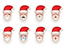 Christmas Santa Claus Avatar Smile Emoticon Icons Set Isolated Cartoon Design Vector Illustration Stock Photos
