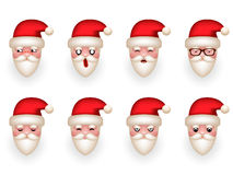 Christmas Santa Claus Avatar Smile Emoticon Icons Set Isolated Cartoon Design Vector Illustration Royalty Free Stock Photography