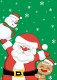 Christmas Santa Claus background set. Background for Christmas party set with cute Santa Claus and gingerbread and snowman Royalty Free Stock Images