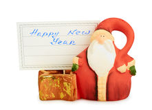 Christmas Santa Claus with badge - happy new year Royalty Free Stock Photo