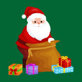 Christmas Santa Claus with bag full of presents for winter holiday xmass, new year gifts vector illustration.  Royalty Free Stock Image