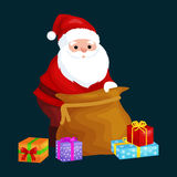 Christmas Santa Claus with bag full of presents for winter holiday xmass, new year gifts vector illustration.  Royalty Free Stock Images