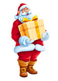 Christmas Santa Claus big gift in hands Stock Photos