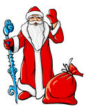 Christmas Santa Claus with big sack and icy stick Stock Images