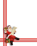 Christmas Santa Claus border. Image and illustration composition of Santa Claus ornament frame for greeting card, Christmas holiday background, border or frame Stock Photos