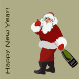 2017. Christmas. Santa Claus with a bottle of champagne in hand and an inscription happy new year. vector stock illustration