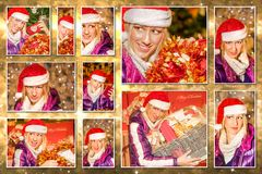 Christmas Santa Claus collage. Christmas pictures collage of different portraits of beautiful blond young woman wearing Santa Claus hat showing a Christmas gifts Stock Image