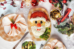 Christmas Santa Claus face salad Royalty Free Stock Images