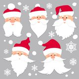 Christmas Santa Claus faces in red caps . Old men in red hat with white beard and mustache .Funny characters. Holiday Stock Illustration