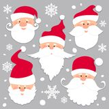 Christmas Santa Claus faces in red caps . Old men in red hat with white beard and mustache .Funny characters. Holiday Royalty Free Illustration