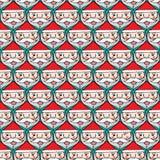 Christmas santa claus faces seamless pattern Stock Photos