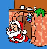 Christmas Santa Claus Fireplace cartoon illustration Royalty Free Stock Photos