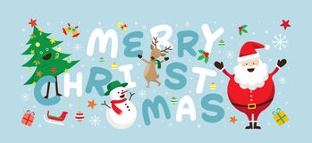 Christmas, Santa Claus and Friends with Lettering Royalty Free Stock Images