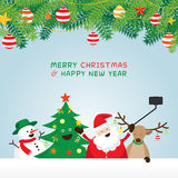 Christmas, Santa Claus and Friends Selfie, Pine Leaves Ornament Stock Images