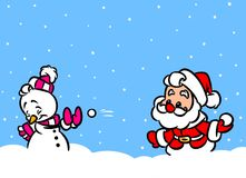 Christmas Santa Claus game snowballs  snowman Stock Image