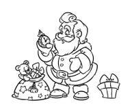 Christmas Santa Claus Gift Bag Coloring Page Cartoon Doodle Contour