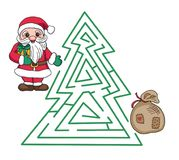 Christmas Santa Claus with gift and sack labyrinth Royalty Free Stock Photo