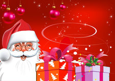 Christmas. Santa Claus with gifts. Red background Stock Image