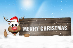 Christmas Santa Claus and Happy Reindeer Royalty Free Stock Photo