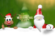Christmas Santa Claus and Happy Reindeer Royalty Free Stock Images