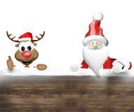 Christmas Santa Claus and Happy Reindeer Stock Photos