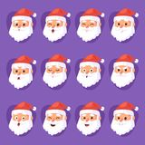 Christmas Santa Claus head emotion faces vector expression character poses illustration emojji Xmas man in red royalty free illustration