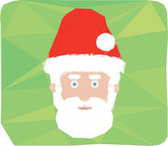 Christmas santa claus icon symbol. Polygonal Christmas santa claus icon symbol on green background Stock Photo
