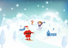 Christmas, Santa Claus, kid and reindeer skiing on mountains in royalty free illustration