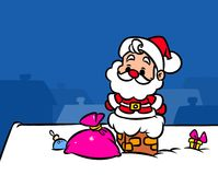 Christmas Santa Claus Mini pipe home gifts cartoon illustration Royalty Free Stock Image