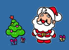 Christmas Santa Claus Mini Tree gifts cartoon illustration Royalty Free Stock Photos