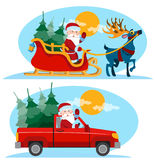 Christmas Santa Claus moving on the sledge with reindeer Stock Photography
